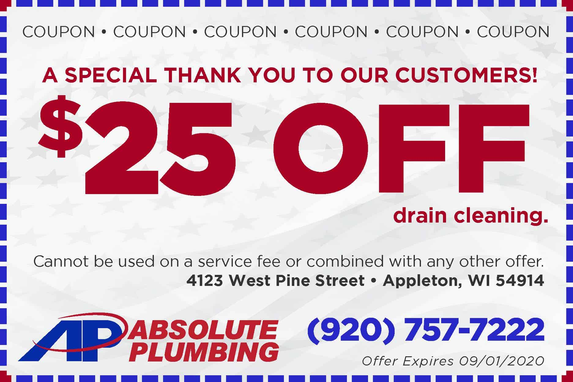Absolute 25 Off Drain Cleaning-Coupon