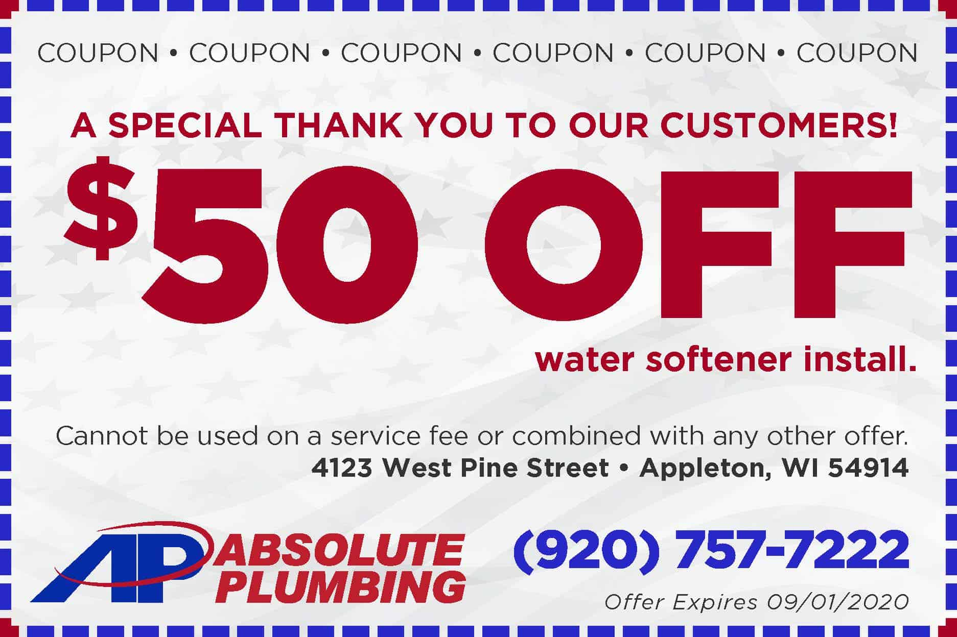 Absolute 50 Off water softener-Coupon