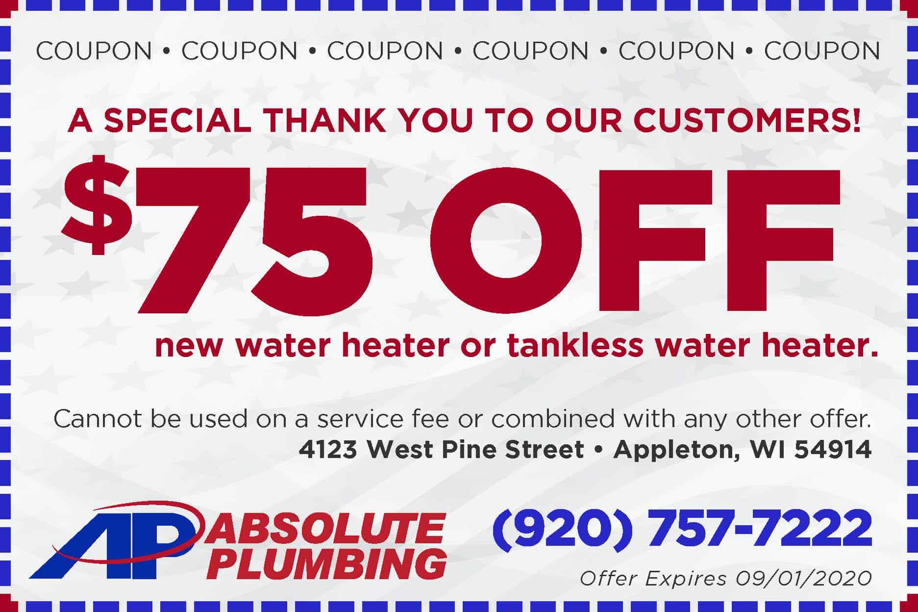 Absolute 75 Off new water heater-Coupon